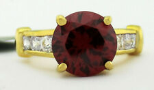 GARNET 4.39 Cts & WHITE SAPPHIRE RING 14K YELLOW TONE PLATED NWT Size 5.75