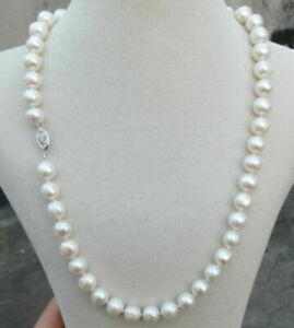 """HUGE AAA 9-10MM SOUTH SEA ROUND WHITE PEARL NECKLACE 19"""" 14K GOLD P CLASP"""