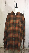 Field and Stream Mens Long Sleeve Button Front Plaid Shirt Orange Brown NWT