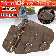 2pcs Right + Left Motorcycle Side SaddleBag Luggage + Bottle Holder PU Brown