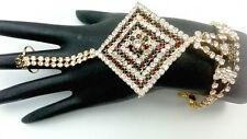 INDIAN GOLD PLATED JEWELRY BRIDAL WEAR BRACELET CZ ATTACHED RING PANJA 1Pc #366
