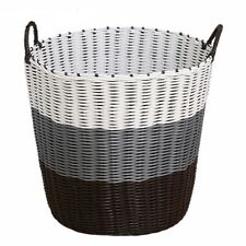 Laundry Basket Plastic Weaved Handles Box Household Sundries Clothes Toy Storage
