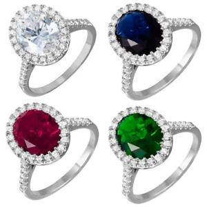 Sterling Silver Halo Ladies Ring w/ Oval Cut Colored CZ Stones