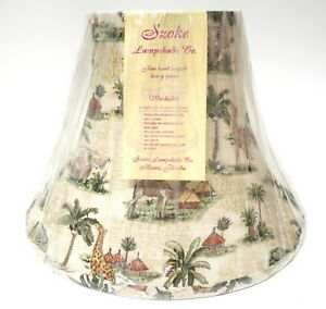 """Szoke Handcrafted Lampshade Lamp Shade Oatmeal Color Palm Trees Animals 9.25"""" H"""