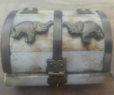 Elephant trinket box Stone/Marble effect resin approx 4x3x2 inch nice condition