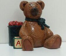 PECAN RESIN WOOD HAND CARVED Painted Signed GGG Bear Bucket Apple Block Figurine