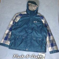 NWT Mens Oakley Bonk Blue Grey Plaid Snowboard Ski Winter Jacket Coat Large (L)