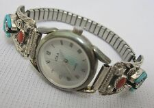 ADLA Quartz .925 Sterling Silver Turquoise Coral S. Ray Band Watch