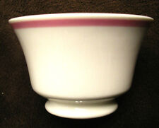 1957 SYRACUSE CHINA Footed CRANBERRY BOWL Cream w/ PINK BAND Dessert Fruit Berry