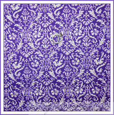 BonEful Fabric FQ Cotton Quilt VTG Purple White Flower Girl Damask Lace Calico S