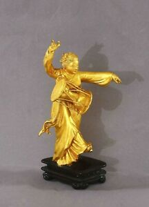 Chinese Culture Revolution Period Gilt Lacquer Carved Girl playing Drum Figurine