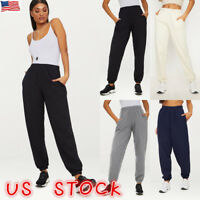Women Summer Elastic Waist Casual Sport Loose Long Trousers Harem Jogging Pants