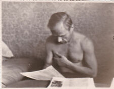 1960s Muscle nude naked man reading newspaper gay interest Russian Soviet photo
