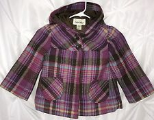 CHEROKEE Girls Pink Brown Plaid Hoodie Lined Large Buttons jacket Size XS (4-5)