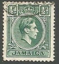 Jamaica Scott# 116, King George VI, Blue-green, ½p, Used, 1938