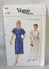 Vogue 8737 size 12 evening length dress,dropped shoulders Uncut