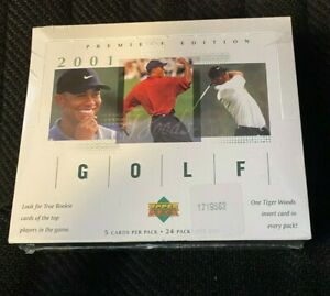 Upper Deck Premiere Edition Tiger Woods Rookie Golf Sealed Hobby Box (2001)