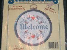 Vtg 1985 Candlewicking Embroidery Welcome Hoop Frame Penn Dutch Kit NIP #lk