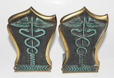 Pair of Sabra 477 Folding Brass Bookends Medical Doctor Caduceus Judaica Israel