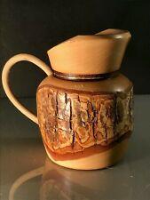 New listingRustic Wooden Kitchenalia Treen Bark Faced Milk/Cream Jug With Wicker Handle