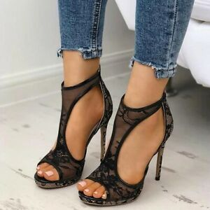 Ladies Sexy Lace Embellished Stiletto High Heel Plus Size Sandals