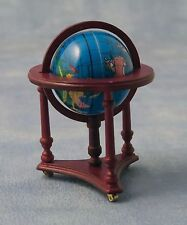 1:12 Scale Revolving World Globe On A Wood Stand Dolls House Study Accessory 12