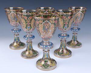 6 Large Fritz Heckert Enameled Glass Goblet Jodhpur Antique Bohemian Persian