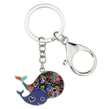 Enamel Alloy Ocean Animal Whale Key Chain Ring Purse Bag Jewelry For Women Charm