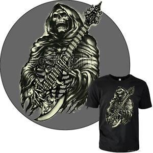 Jupe `N Rouleau T-Shirt Heavy Metal Gothique Tête de Mort Guitare 2022 Noir