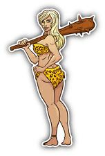 "Cave Woman Club Sexy Cartoon Car Bumper Sticker Decal 3"" x 5"""