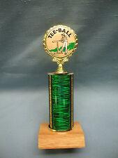 t-ball Baseball insert trophy short green column wood base