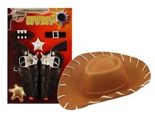 Childs Kids Cowboy Fancy Dress Costume Outfit Play Set Guns Holster Badge & Hat