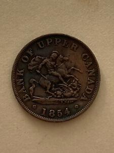 1854 Upper Canada half penny token, circulated