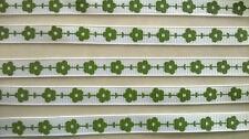 Blanc Gros-Grain Ruban avec imprimé vert fleurs ~ 9 Mm Large ~ 2 Mètre Longueur