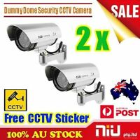 2x Fake Dummy Dome Home Security CCTV Camera Surveillance Simulation LED Light