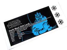 CUSTOM UCS STYLE PLAQUE STICKER - for STAR WARS DARTH MAUL , Lego 10018 , ETC