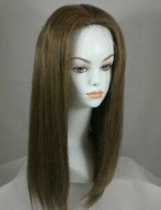 100% Human Hair Long Straight Hair Wig w/Body Wave No Bangs Middle Parting