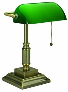 V-LIGHT with Replaceable LED Green Shade Banker's Lamp Antique Brass 8VS68802...