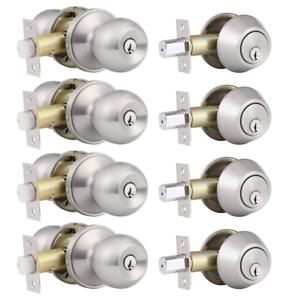4 Pack Keyed Alike Entry Door Knobs and Single Cylinder Deadbolt Lock Combo Set