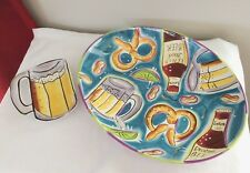 "2003 Clay Art StoneLite ""Beer Time"" Hand Painted X-Large Serving Platter Tray +"