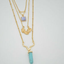 Gold Plate Turquoise hexagon Multilayer Pendant Necklace XL1306