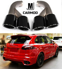 Gloss Black GTS Style Exhaust Tips Muffler Pipe Fit For Porsche Cayenne V6 2015+