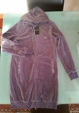maxi giubbino Armani donna felpa con cappuccio velluto lilla zip taglia S nuovo