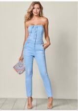 13c363f0d05e Brand New Beautiful Venus Denim Lace Up Front Jumpsuit Size 2