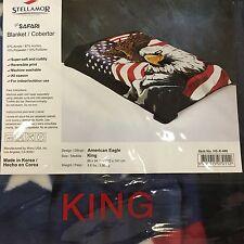 Wonu Hi-Safari Stellamor Acrylic King Size Korean America Flag Eagle Blanket