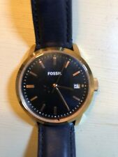 Fossil Women's Watch Navy Blue Leather & Face Rose Gold Barely Worn New Battery