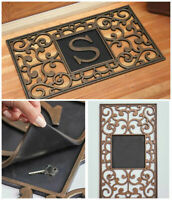 MONOGRAM HIDDEN HIDE A KEY DOOR MAT Personalized Initial Security Porch Patio