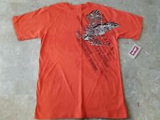 Levi's Jean Co. Boys Size L 16-18 Short Sleeve Shirt Orange Graphic Design NEW