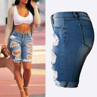 US Summer NEW Women Ripped High Waist Short Pants Jeans Slim Casual Trousers