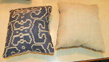 Pair of Blue Cream Flower Print Throw Pillows  10 x 10